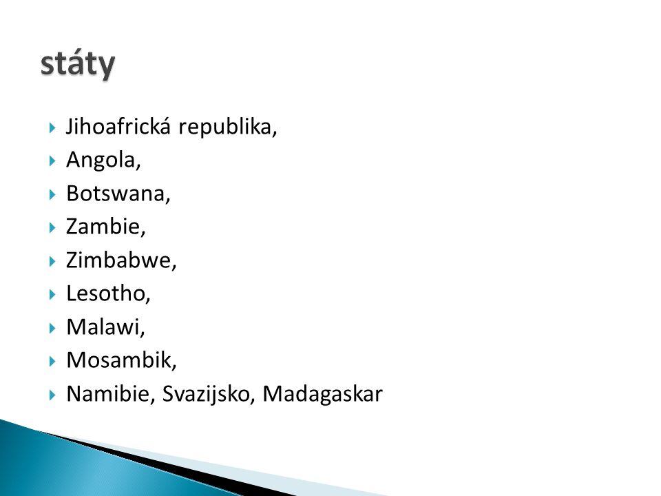 státy Jihoafrická republika, Angola, Botswana, Zambie, Zimbabwe,