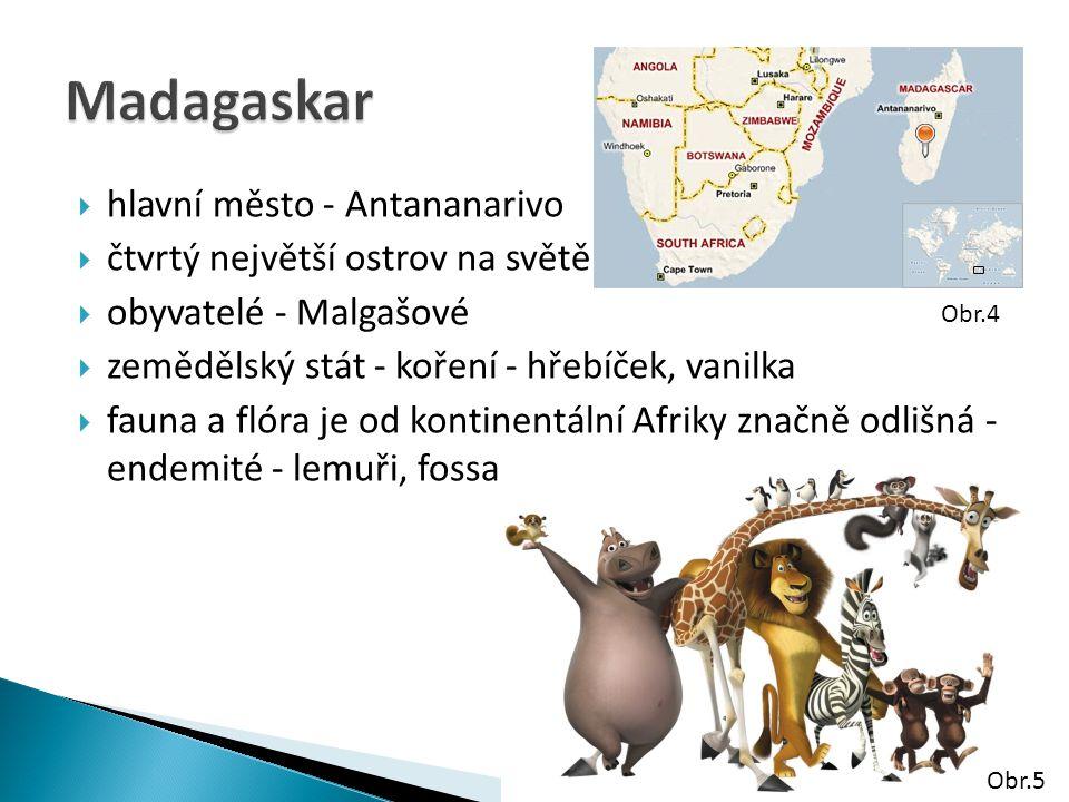 Madagaskar hlavní město - Antananarivo čtvrtý největší ostrov na světě