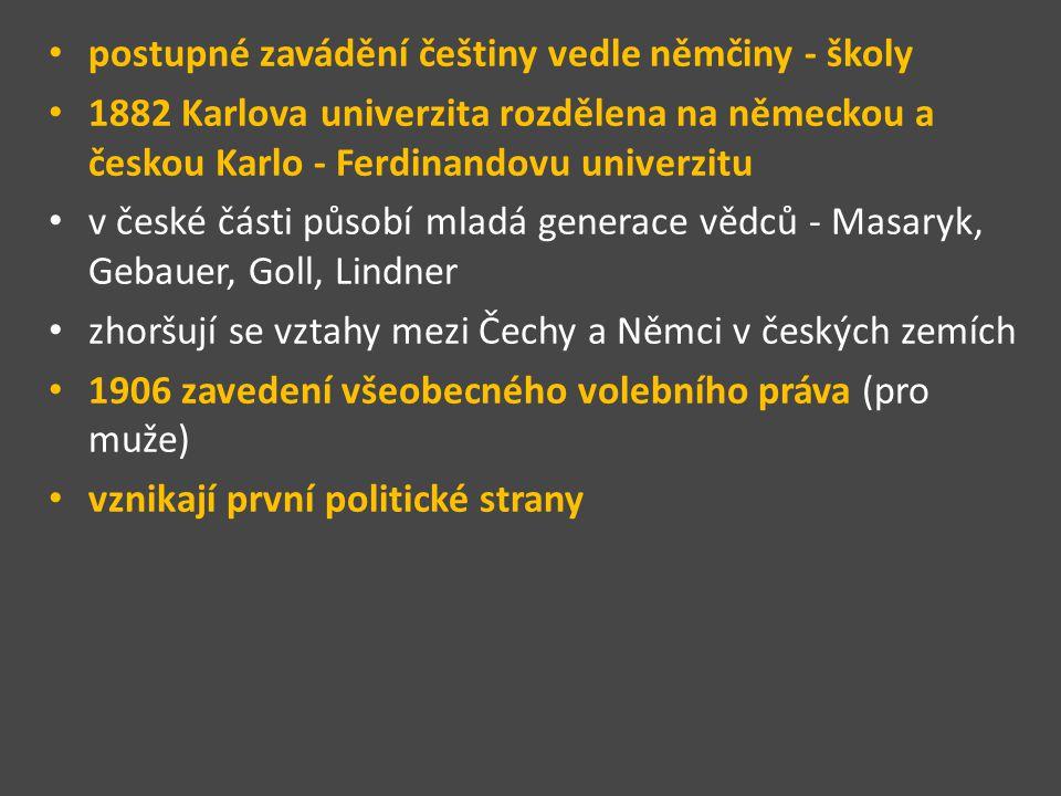 postupné zavádění češtiny vedle němčiny - školy