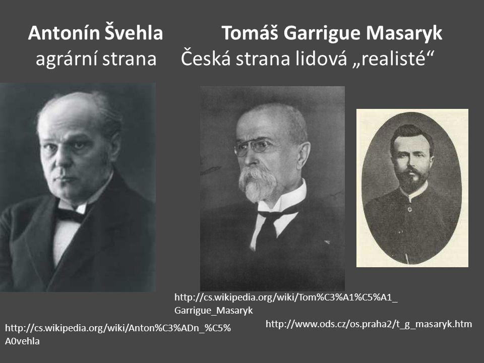 Antonín Švehla. Tomáš Garrigue Masaryk agrární strana