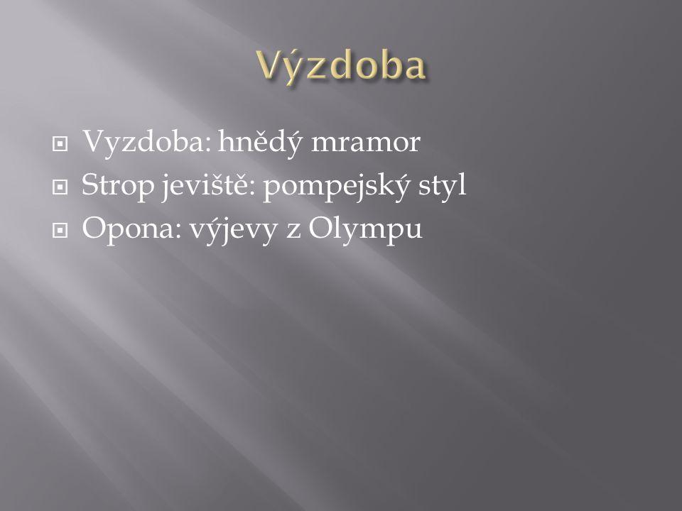 Výzdoba Vyzdoba: hnědý mramor Strop jeviště: pompejský styl