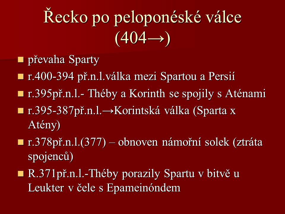 Řecko po peloponéské válce (404→)