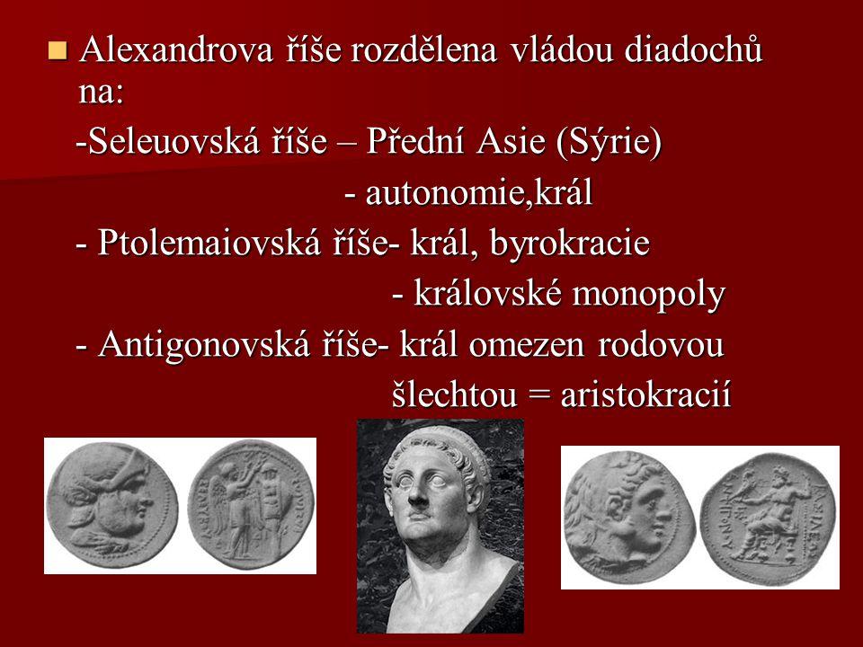 Alexandrova říše rozdělena vládou diadochů na:
