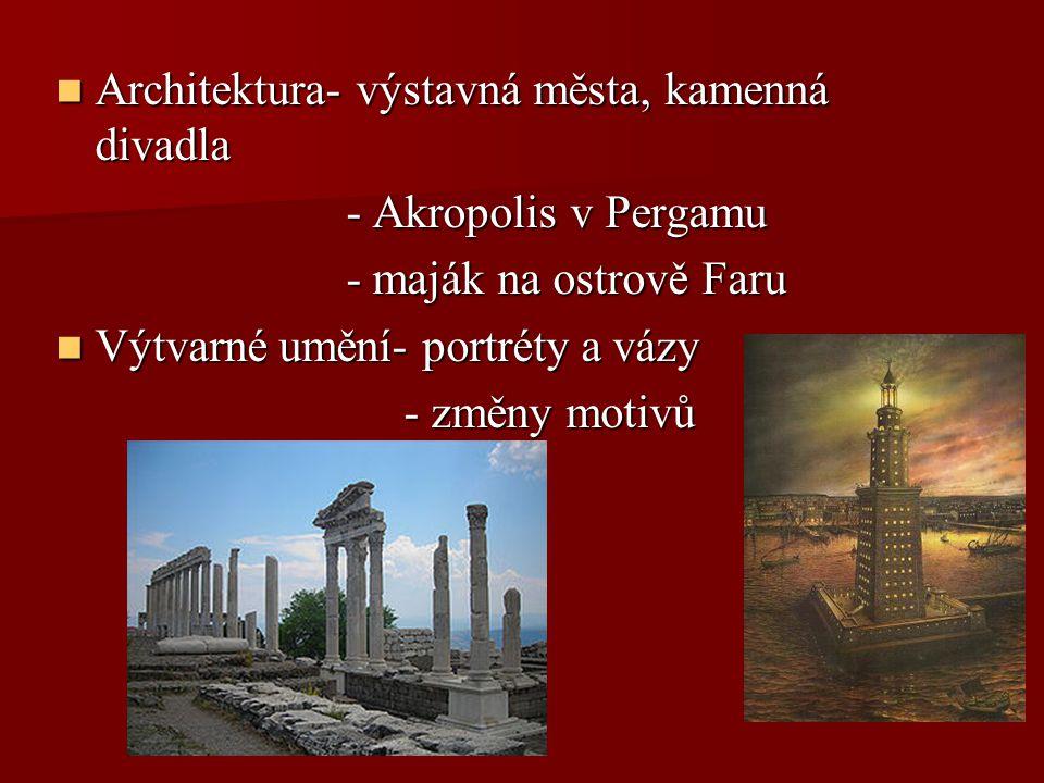 Architektura- výstavná města, kamenná divadla