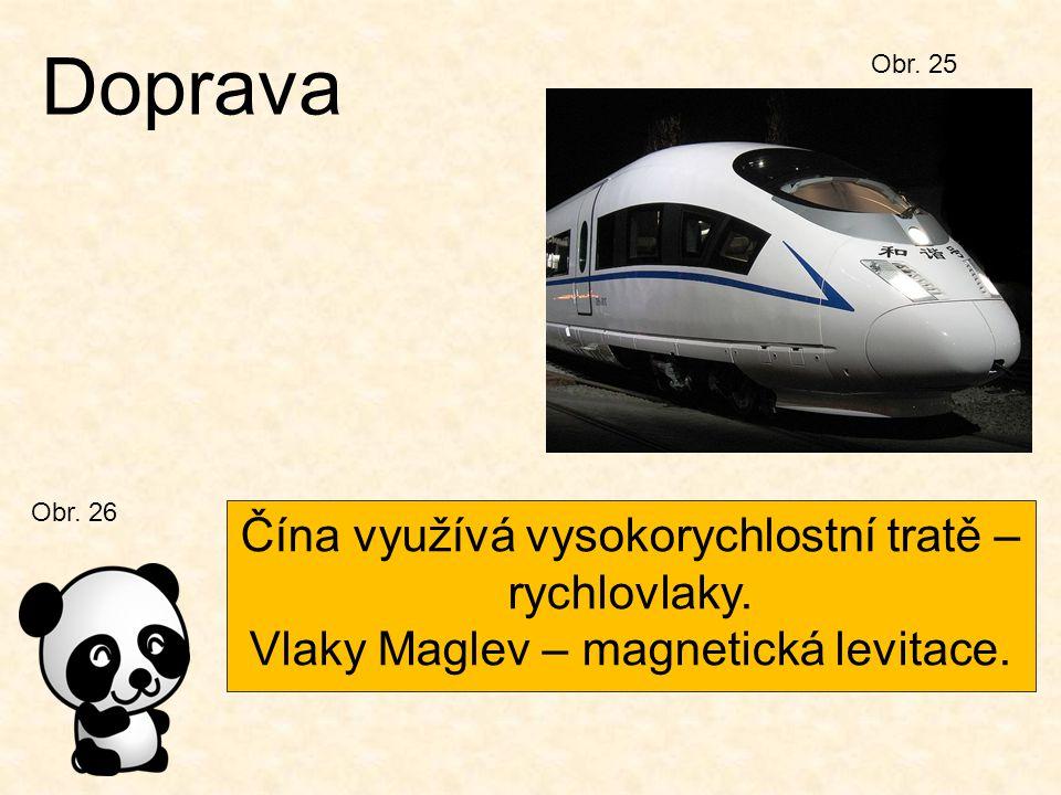 Doprava Čína využívá vysokorychlostní tratě – rychlovlaky.
