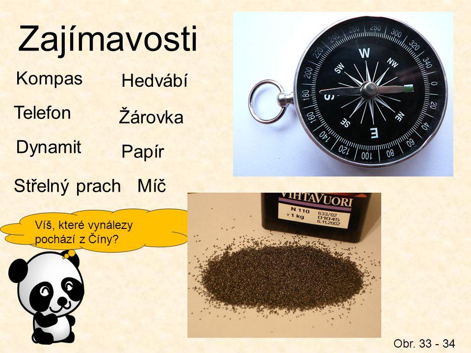Zajímavosti Kompas Hedvábí Telefon Žárovka Dynamit Papír Střelný prach