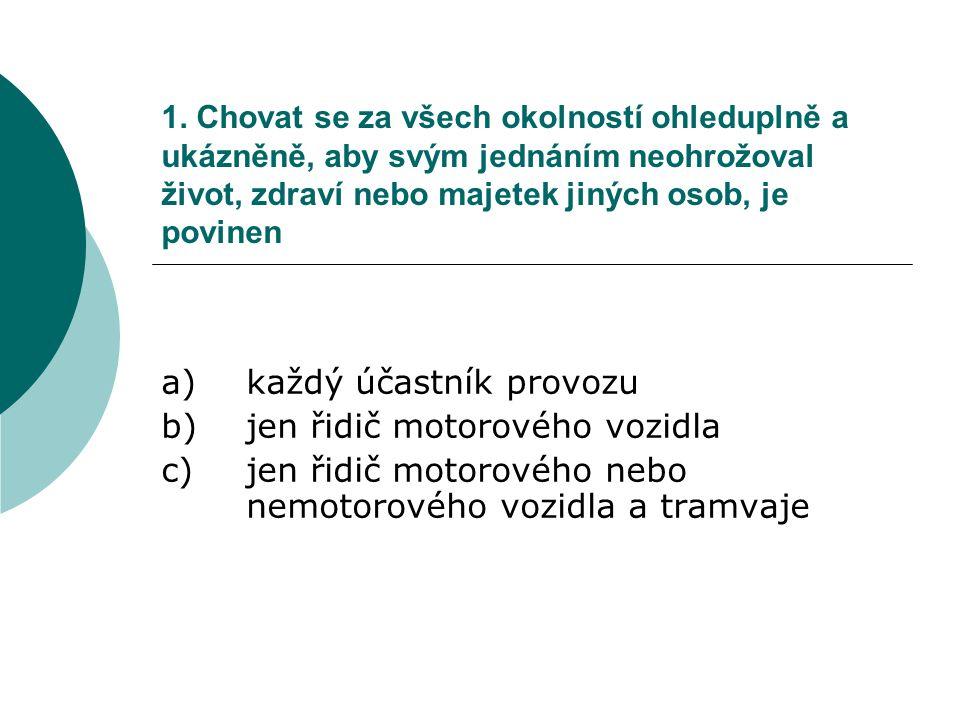 a) každý účastník provozu b) jen řidič motorového vozidla