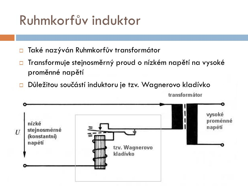 Ruhmkorfův induktor Také nazýván Ruhmkorfův transformátor