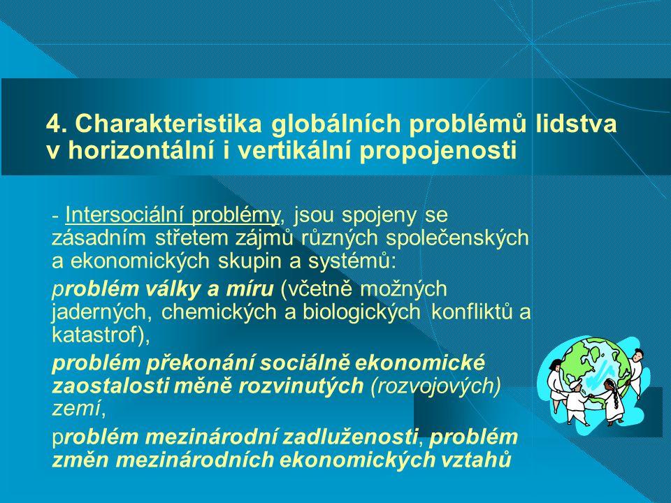 4. Charakteristika globálních problémů lidstva v horizontální i vertikální propojenosti
