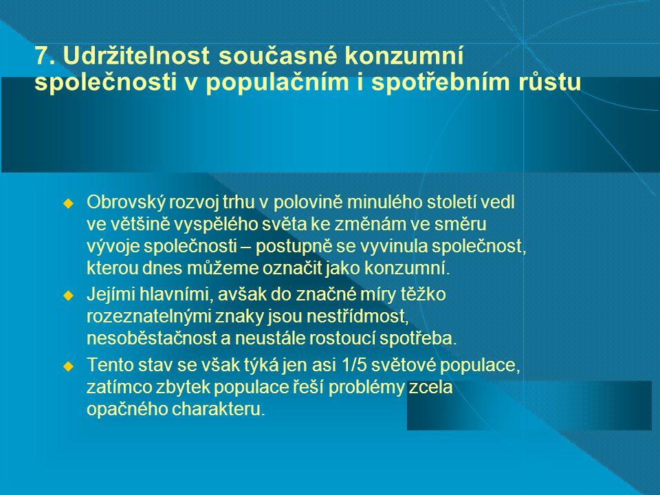 7. Udržitelnost současné konzumní společnosti v populačním i spotřebním růstu