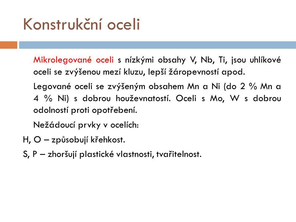Konstrukční oceli Nežádoucí prvky v ocelích: