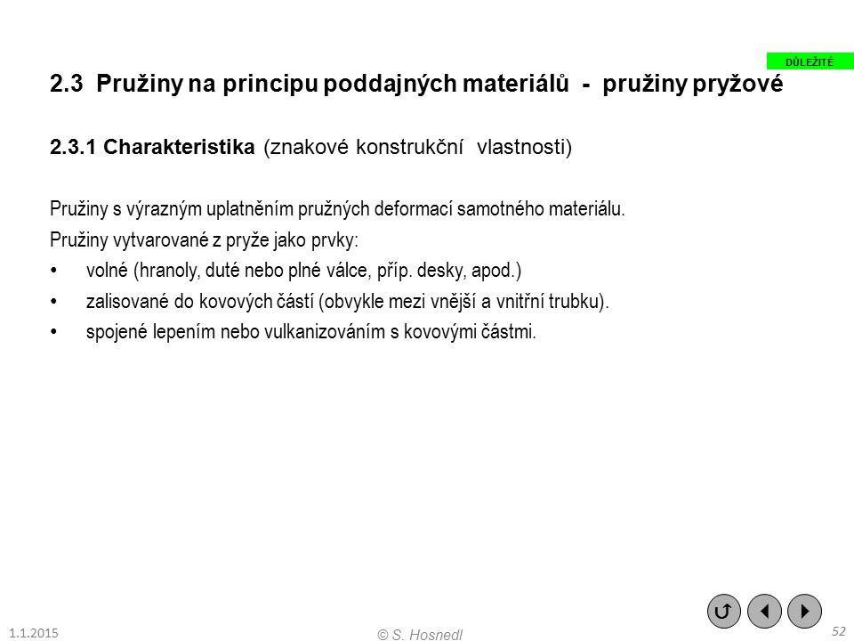 2.3 Pružiny na principu poddajných materiálů - pružiny pryžové