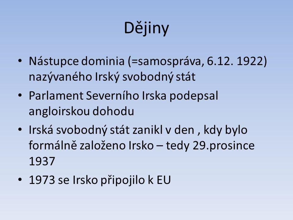 Dějiny Nástupce dominia (=samospráva, 6.12. 1922) nazývaného Irský svobodný stát. Parlament Severního Irska podepsal angloirskou dohodu.