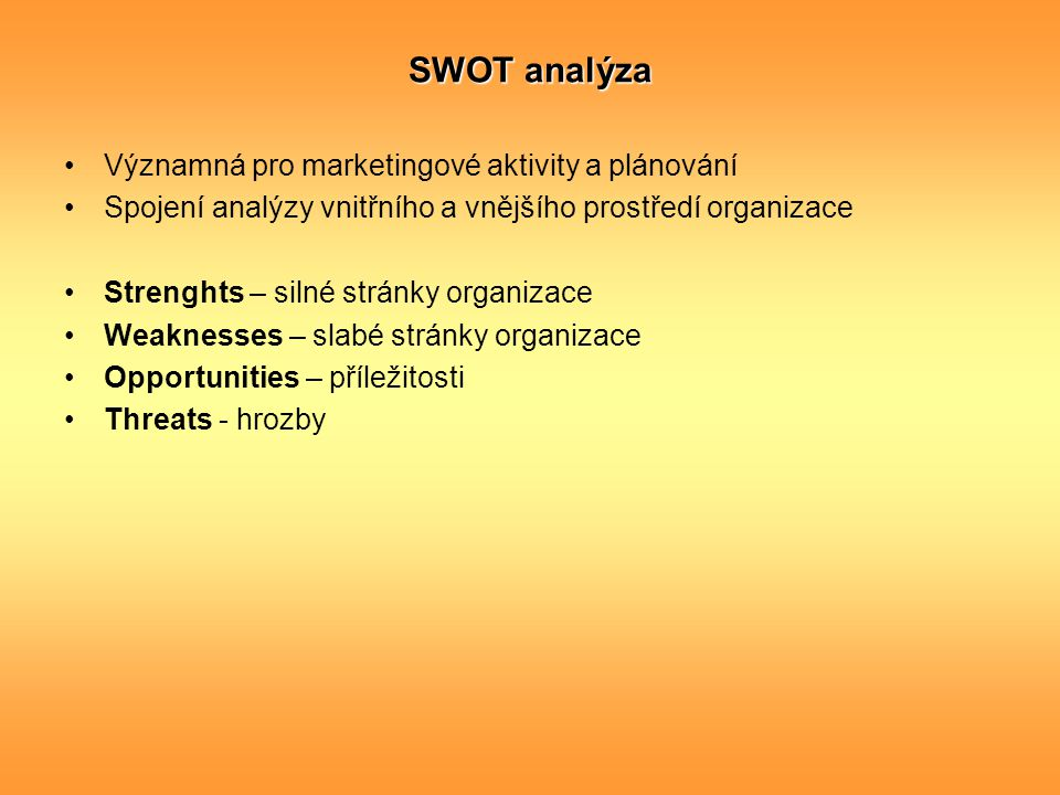 SWOT analýza Významná pro marketingové aktivity a plánování