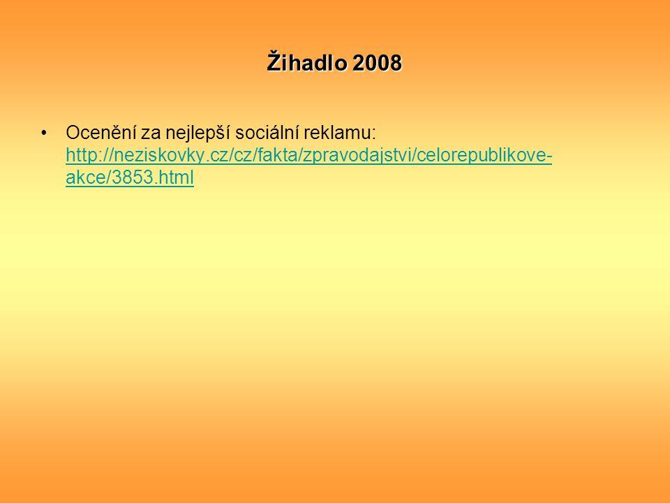 Žihadlo 2008 Ocenění za nejlepší sociální reklamu: http://neziskovky.cz/cz/fakta/zpravodajstvi/celorepublikove-akce/3853.html.
