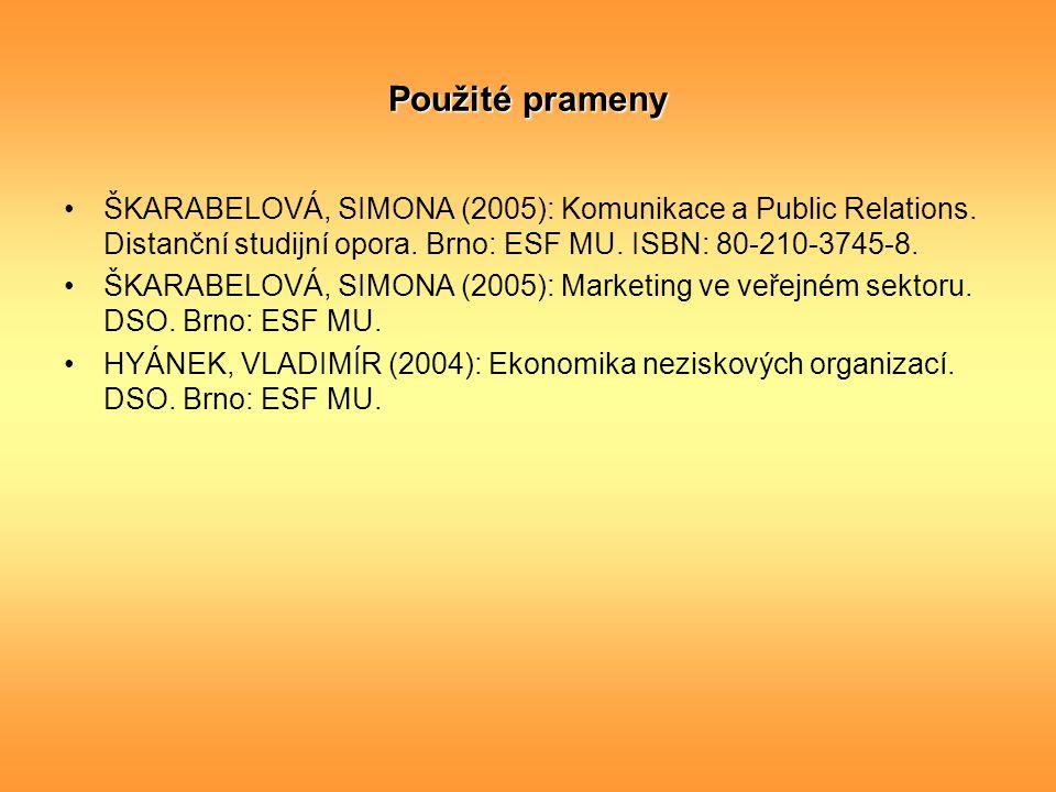 Použité prameny ŠKARABELOVÁ, SIMONA (2005): Komunikace a Public Relations. Distanční studijní opora. Brno: ESF MU. ISBN: 80-210-3745-8.