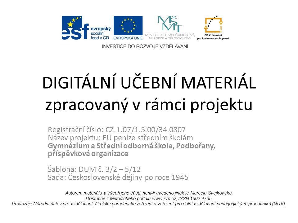 DIGITÁLNÍ UČEBNÍ MATERIÁL zpracovaný v rámci projektu