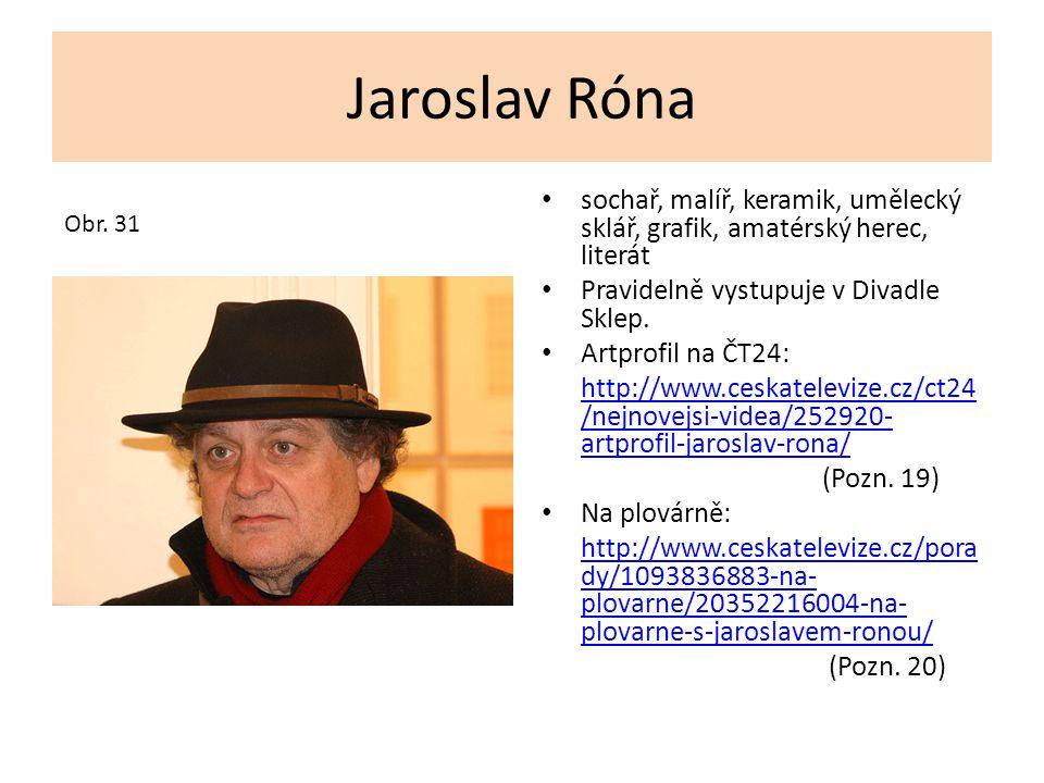 Jaroslav Róna sochař, malíř, keramik, umělecký sklář, grafik, amatérský herec, literát. Pravidelně vystupuje v Divadle Sklep.
