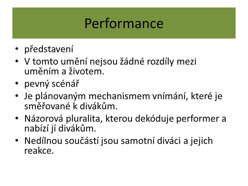 Performance představení