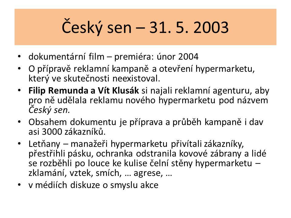 Český sen – 31. 5. 2003 dokumentární film – premiéra: únor 2004