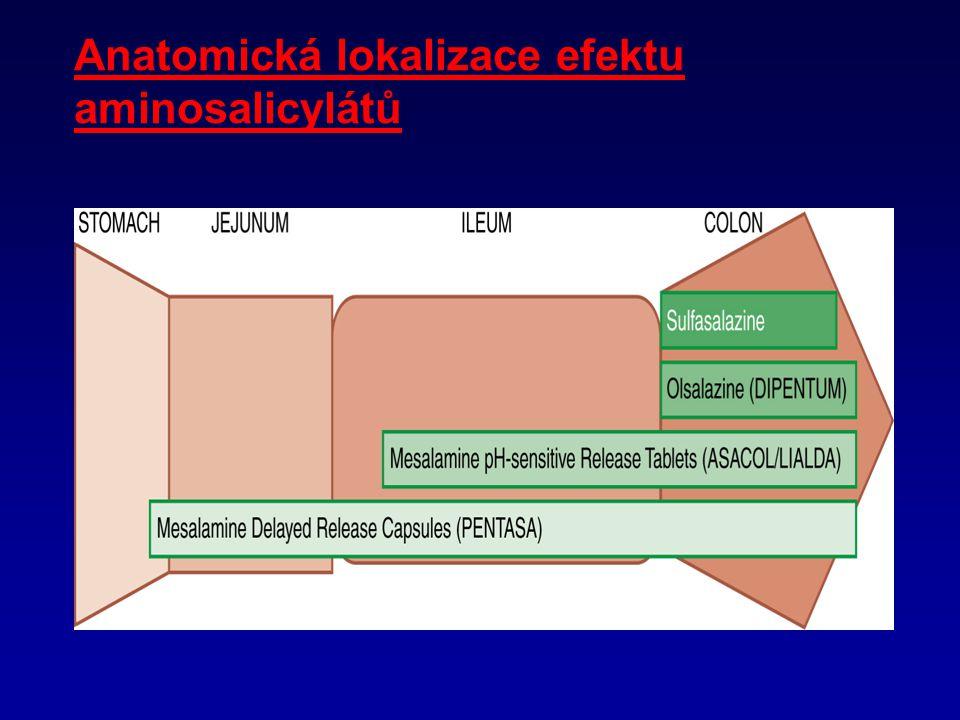 Anatomická lokalizace efektu aminosalicylátů