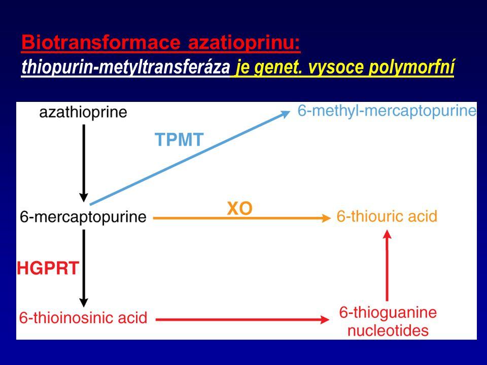 Biotransformace azatioprinu: thiopurin-metyltransferáza je genet