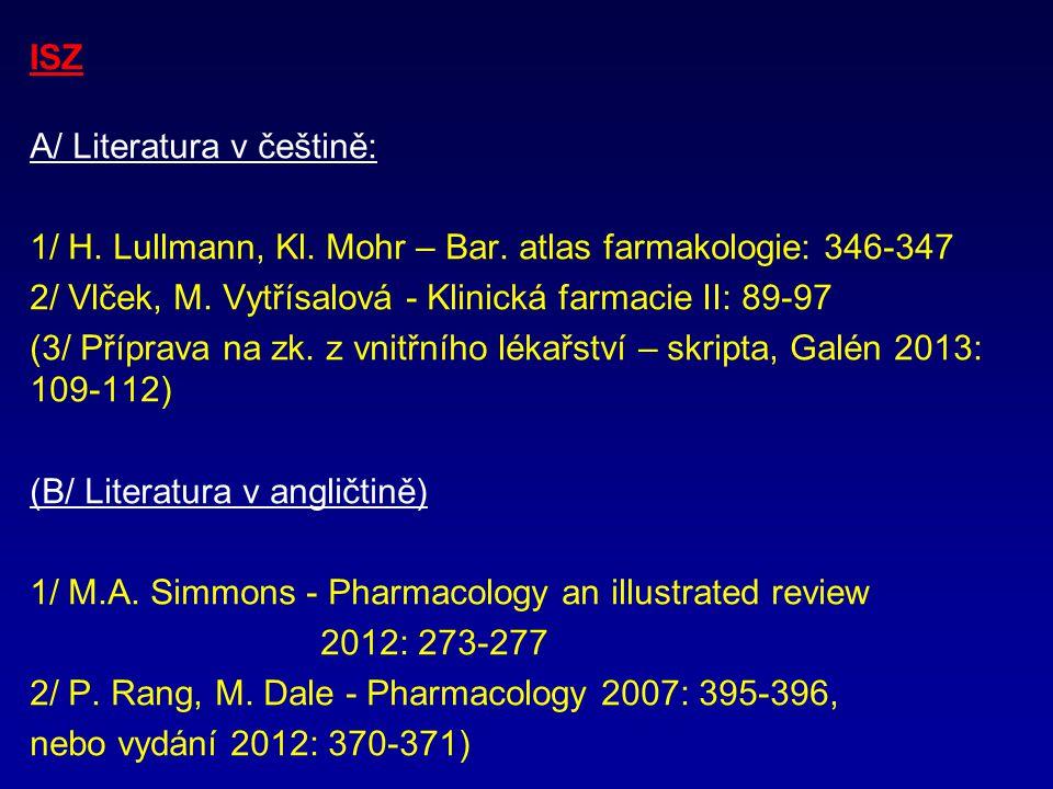 ISZ A/ Literatura v češtině: 1/ H. Lullmann, Kl. Mohr – Bar. atlas farmakologie: 346-347. 2/ Vlček, M. Vytřísalová - Klinická farmacie II: 89-97.