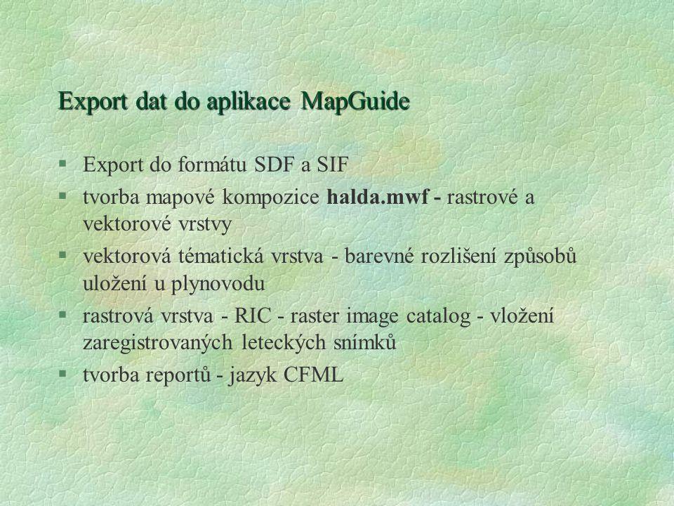 Export dat do aplikace MapGuide