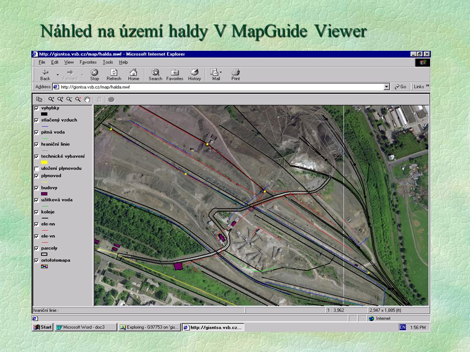 Náhled na území haldy V MapGuide Viewer