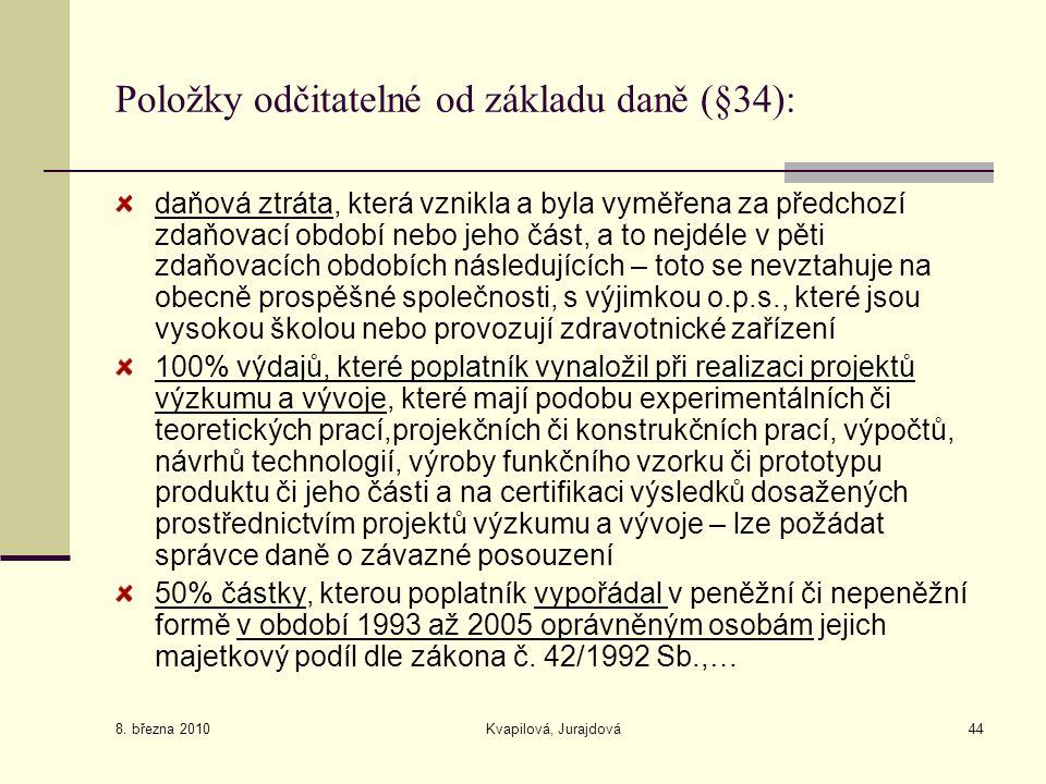 Položky odčitatelné od základu daně (§34):