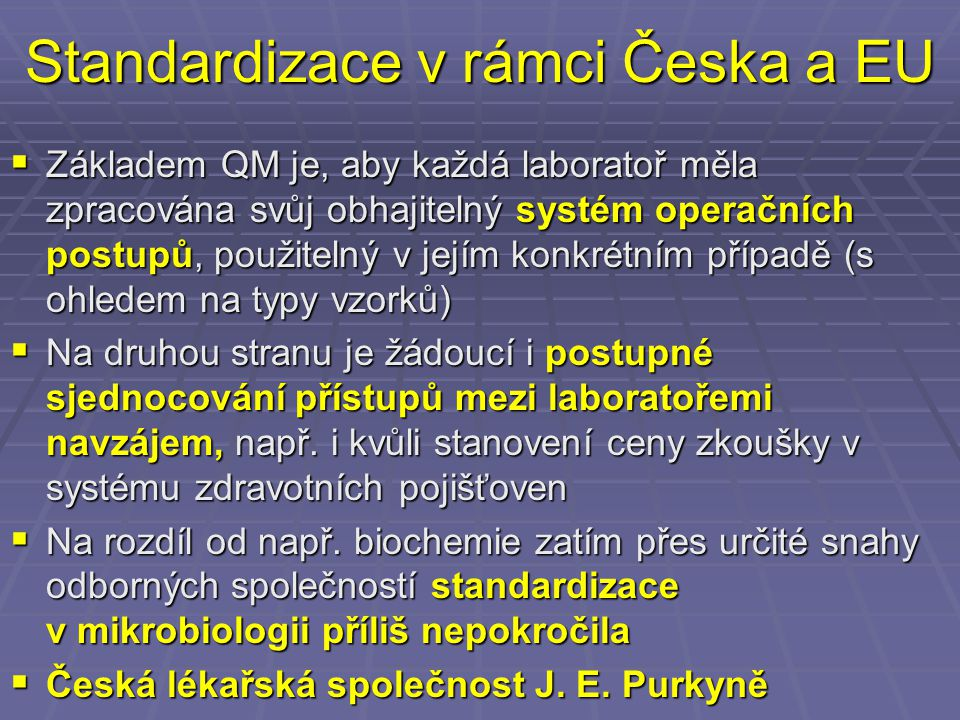 Standardizace v rámci Česka a EU