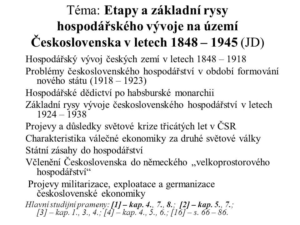 Téma: Etapy a základní rysy hospodářského vývoje na území Československa v letech 1848 – 1945 (JD)
