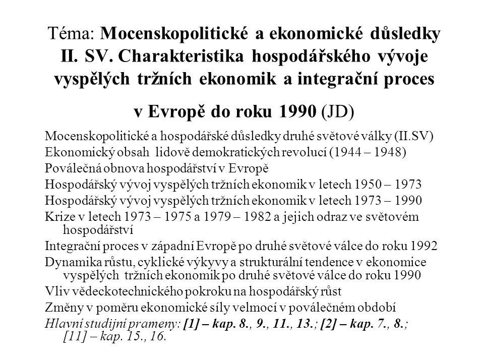 Téma: Mocenskopolitické a ekonomické důsledky II. SV