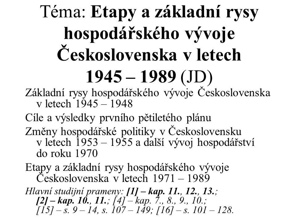 Téma: Etapy a základní rysy hospodářského vývoje Československa v letech 1945 – 1989 (JD)