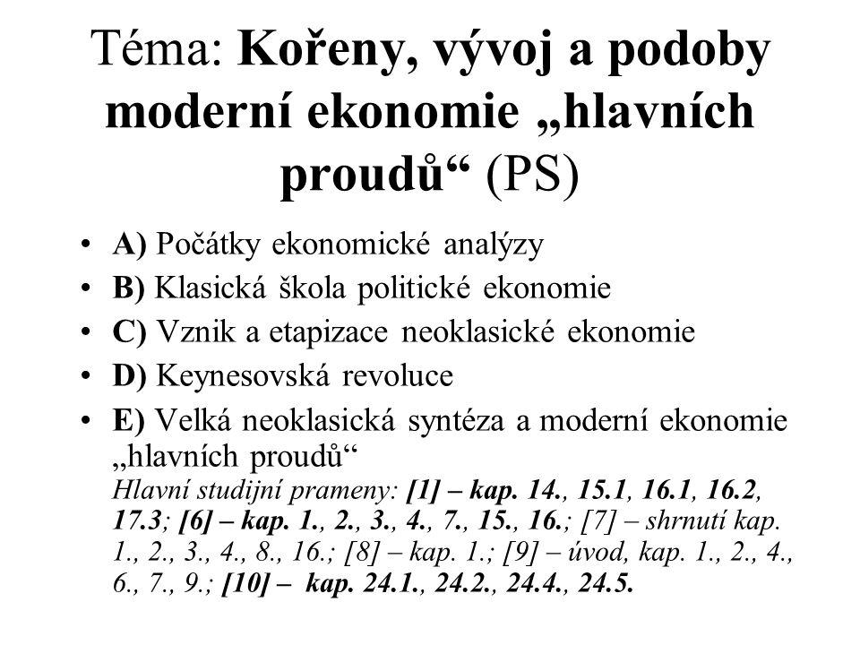 """Téma: Kořeny, vývoj a podoby moderní ekonomie """"hlavních proudů (PS)"""
