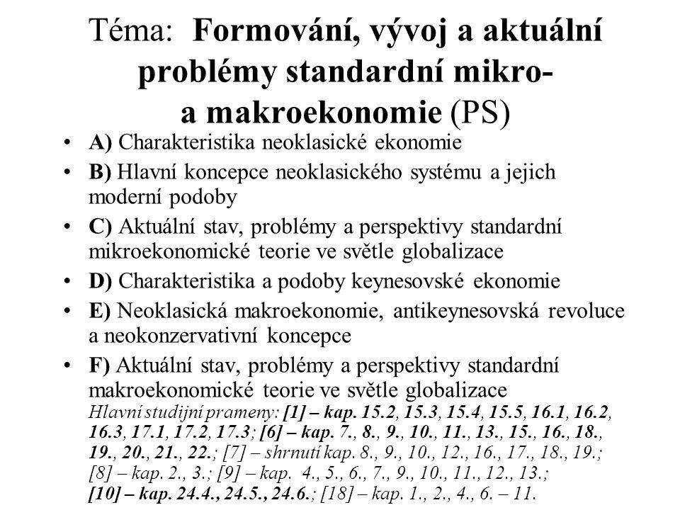 Téma: Formování, vývoj a aktuální problémy standardní mikro- a makroekonomie (PS)