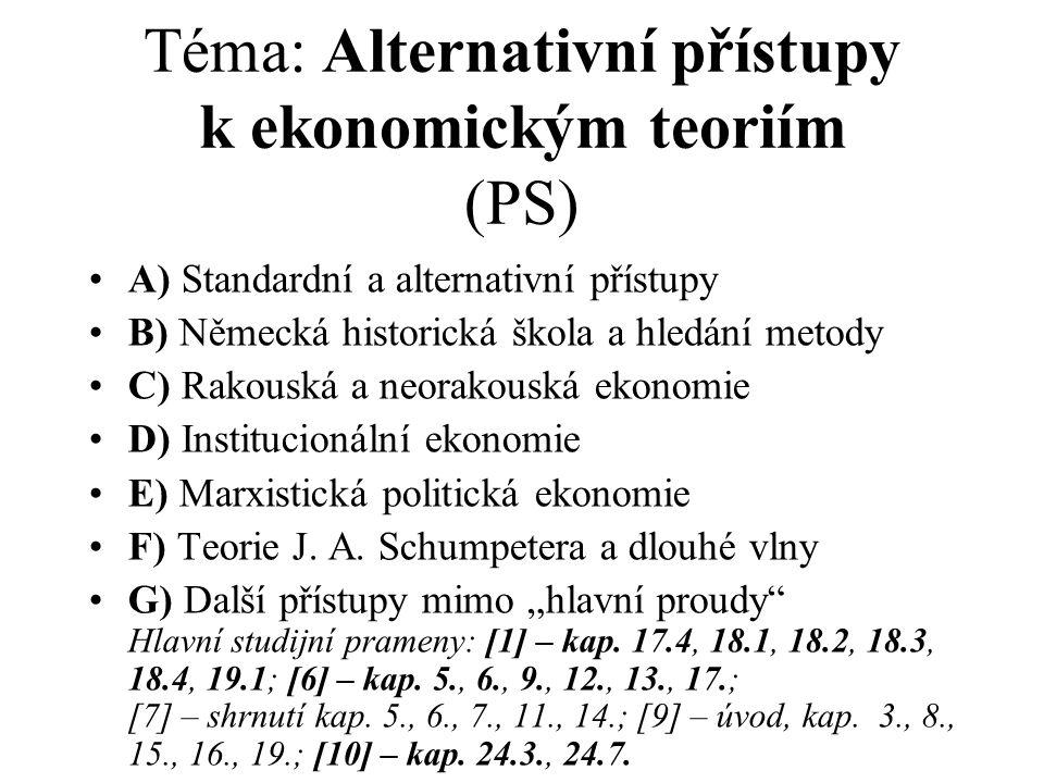 Téma: Alternativní přístupy k ekonomickým teoriím (PS)