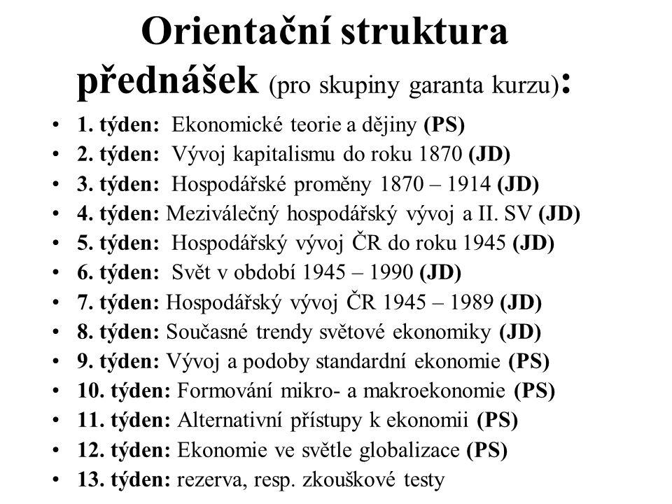 Orientační struktura přednášek (pro skupiny garanta kurzu):