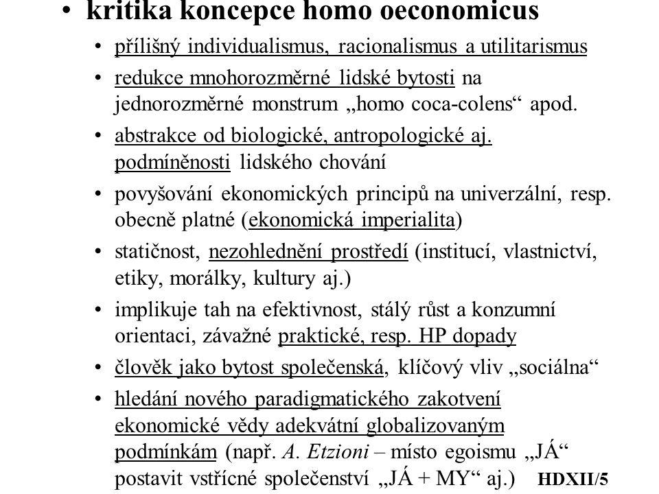 kritika koncepce homo oeconomicus