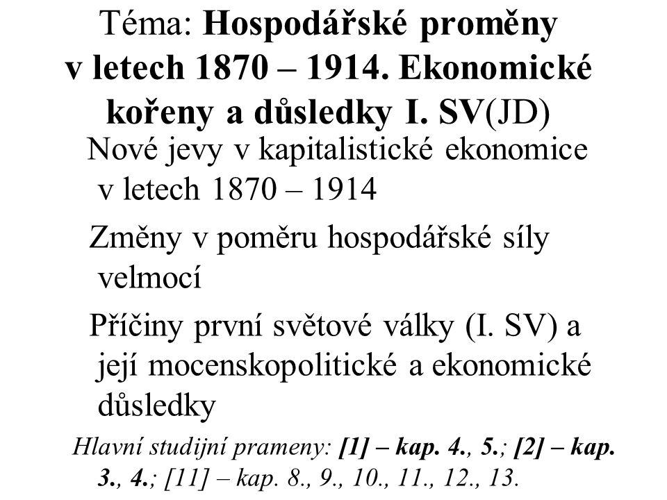 Téma: Hospodářské proměny v letech 1870 – 1914