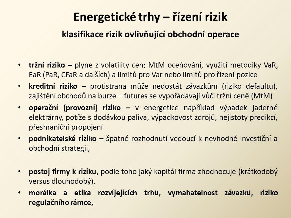 Energetické trhy – řízení rizik klasifikace rizik ovlivňující obchodní operace