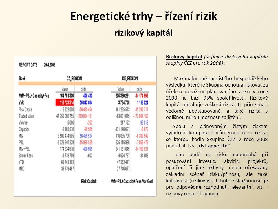 Energetické trhy – řízení rizik rizikový kapitál