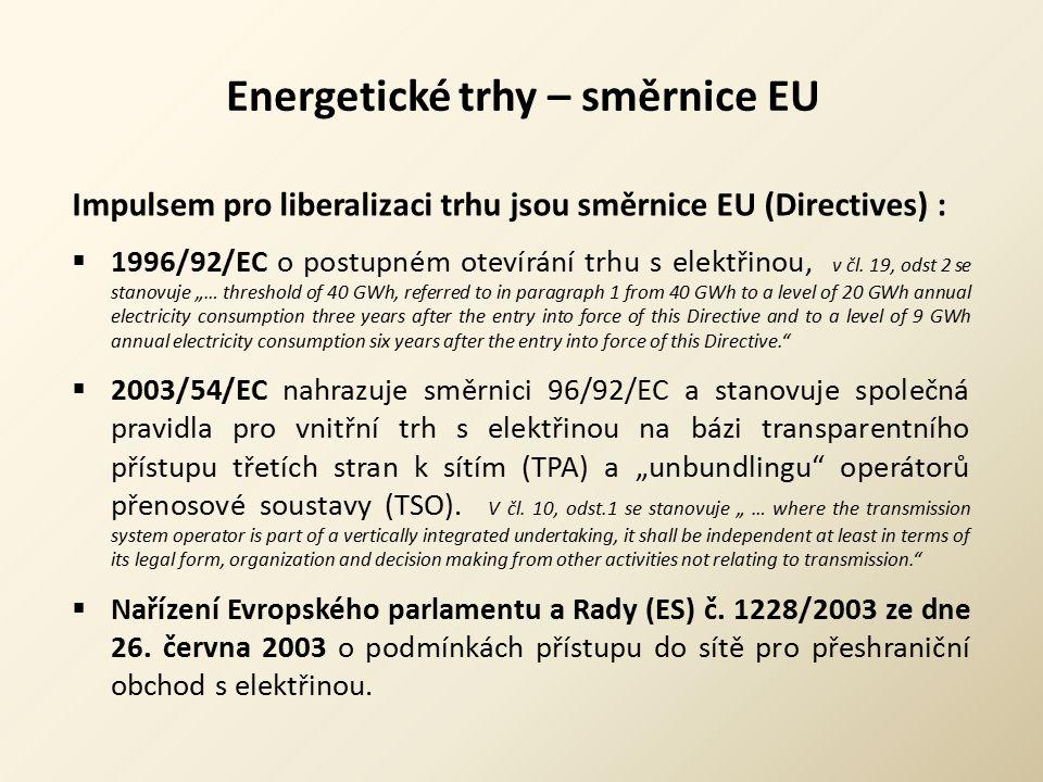 Energetické trhy – směrnice EU