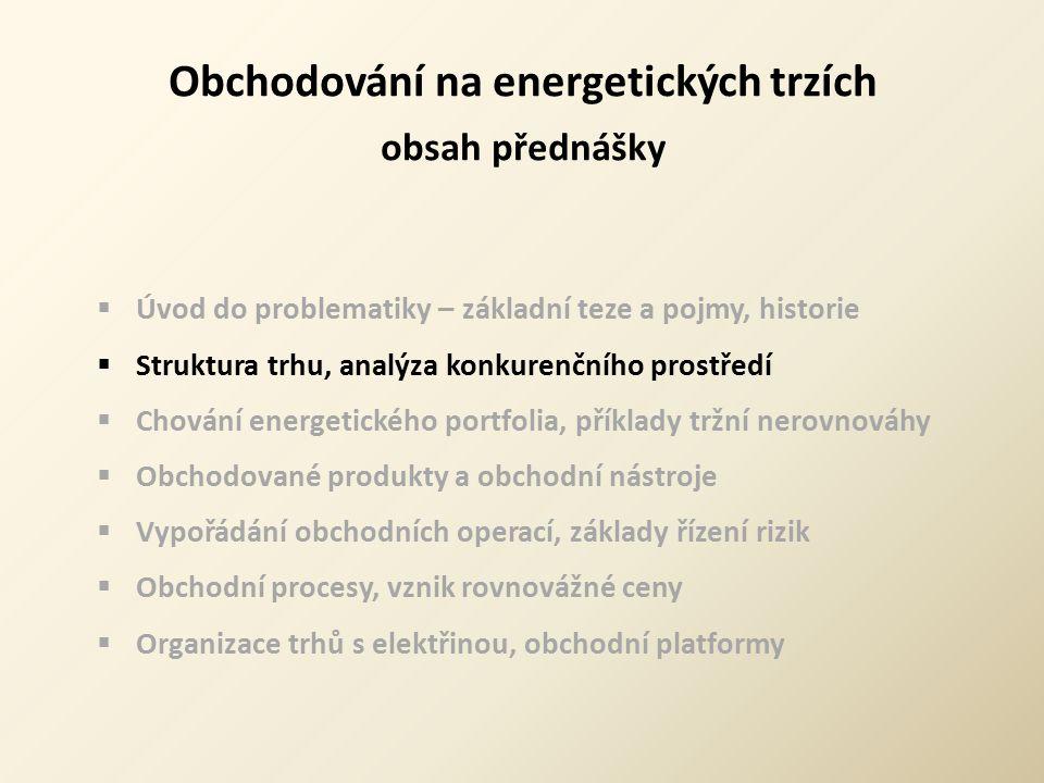 Obchodování na energetických trzích obsah přednášky