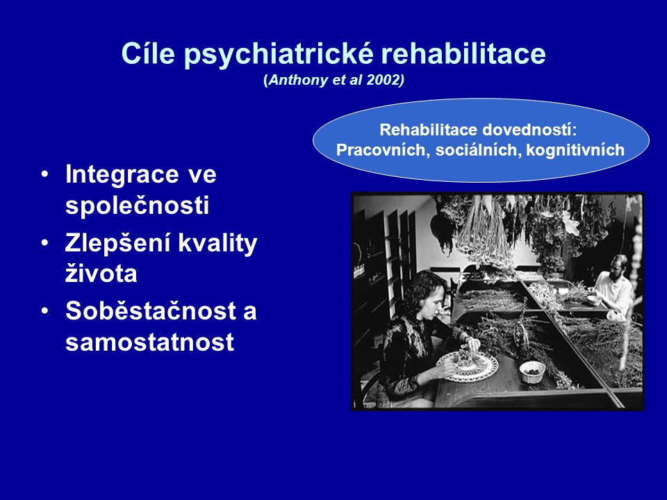 Cíle psychiatrické rehabilitace (Anthony et al 2002)