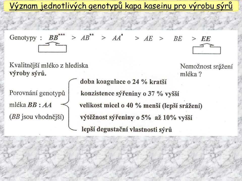 Význam jednotlivých genotypů kapa kaseinu pro výrobu sýrů