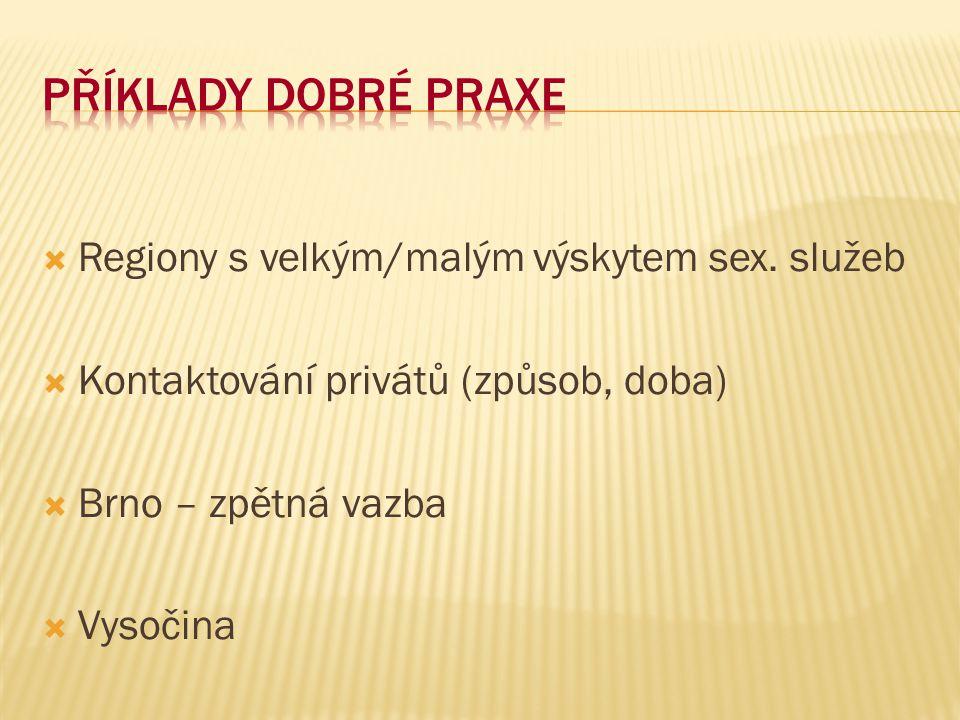 Příklady dobré praxe Regiony s velkým/malým výskytem sex. služeb