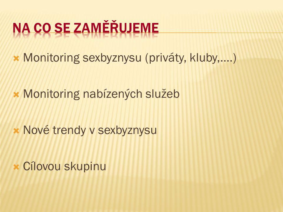 Na co se zaměřujeme Monitoring sexbyznysu (priváty, kluby,….)