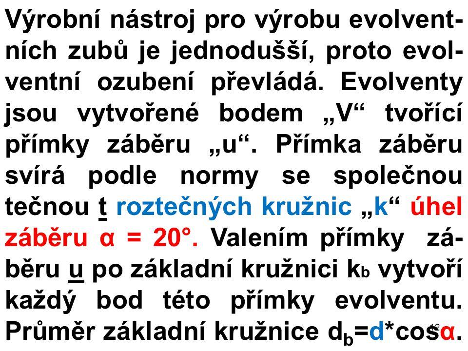 Výrobní nástroj pro výrobu evolvent-ních zubů je jednodušší, proto evol-ventní ozubení převládá.