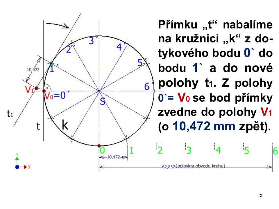 """Přímku """"t nabalíme na kružnici """"k z do-tykového bodu 0` do bodu 1` a do nové polohy t1."""